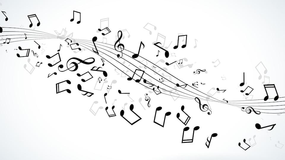 Des notes de musique flottent de manière désordonnée.