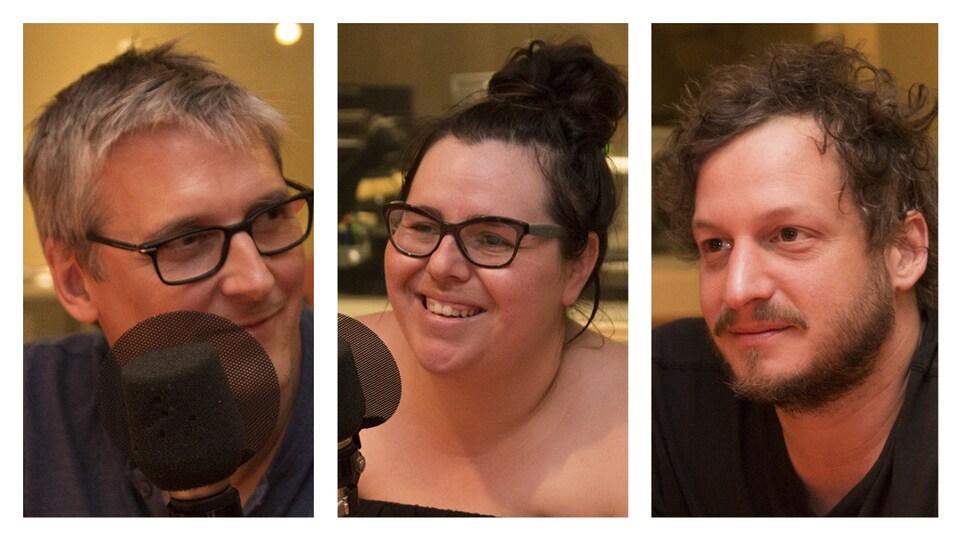 Les photographes Christian Fleury, Julie Artacho et Marc-Étienne Mongrain en entrevue à l'émission Nouvelle vague.
