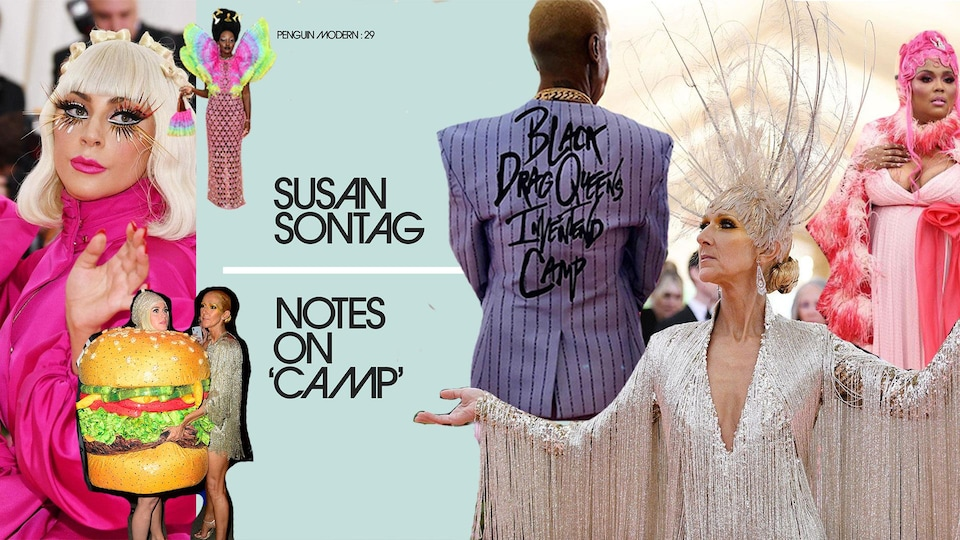 Montage photo. On y voit : Lady Gaga, Katy Perry habillée en hamburger, Lupita Nyongo, Lena Waithe de dos avec l'inscription «Black Drag Queens Inventend Camp» sur son veston, Céline Dion et Lizzo, dans leurs costumes du Met Gala 2019.