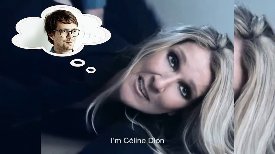 Céline Dion est couchée sur le sol, la tête de Guillaume Corbeil apparaît dans une bulle de pensée.