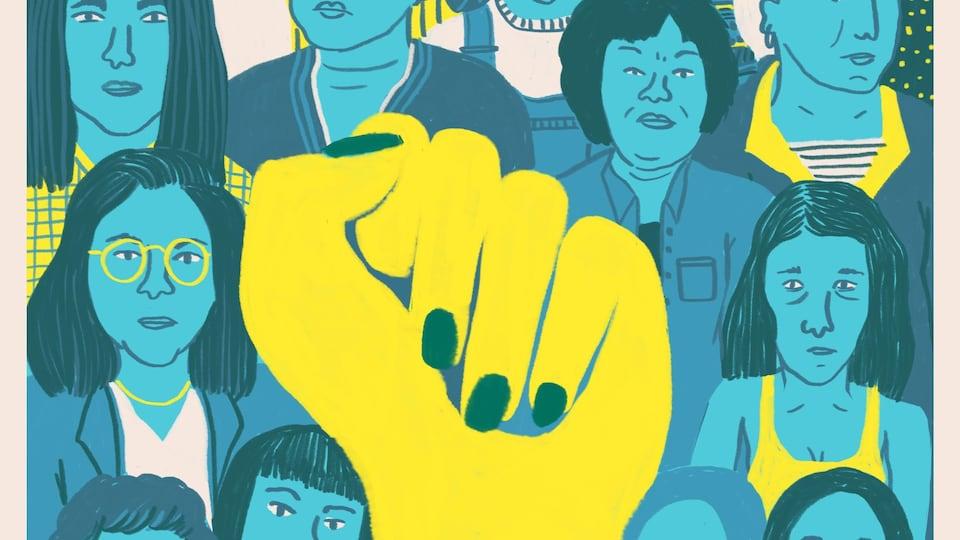 Un poing fermé comme symbole de solidarité avec les femmes autochtones.