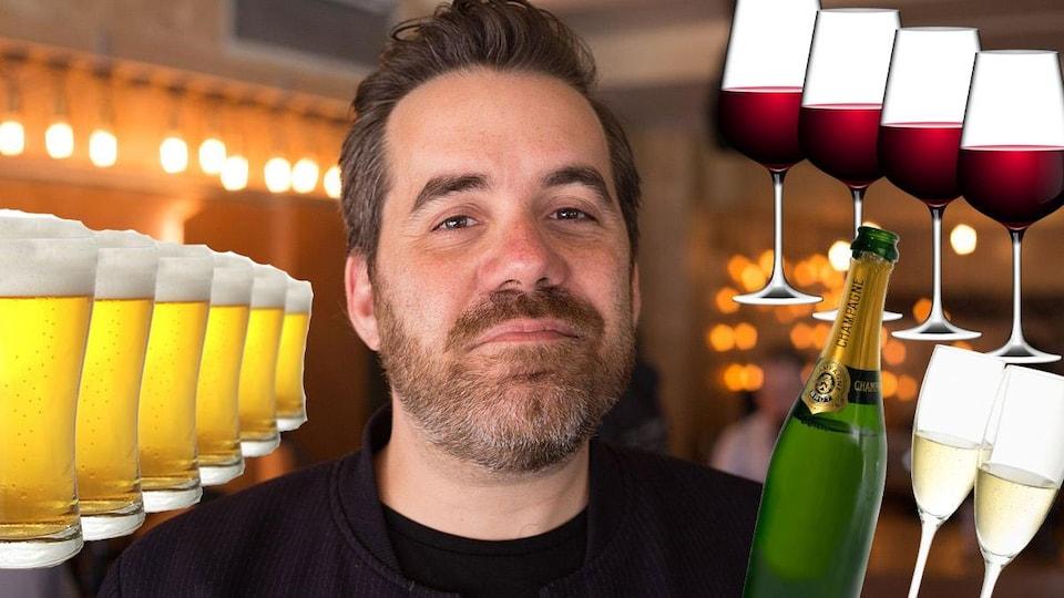 Portrait de Jean-Sébastien Girard avec un collage de verres d'alcool autour.