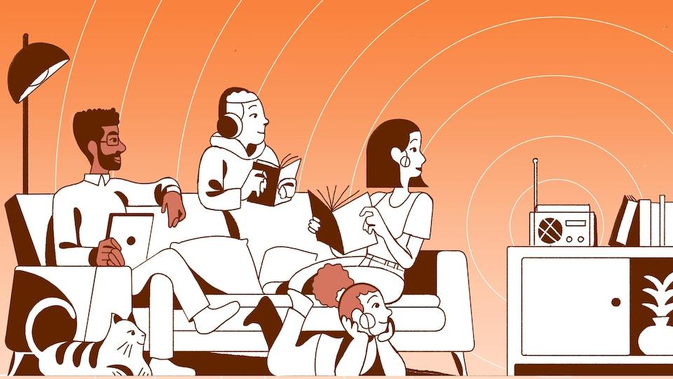 Le dessin d'une famille qui écoute la radio.