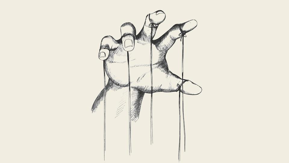 Une illustration de la main d'un marionnettiste, qui tient des cordes pour contrôler.