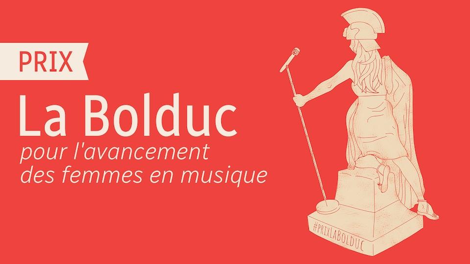 L'illustration de ce que pourrait être le trophée La Bolduc : Une statuette de la déesse Athéna, tenant un micro.