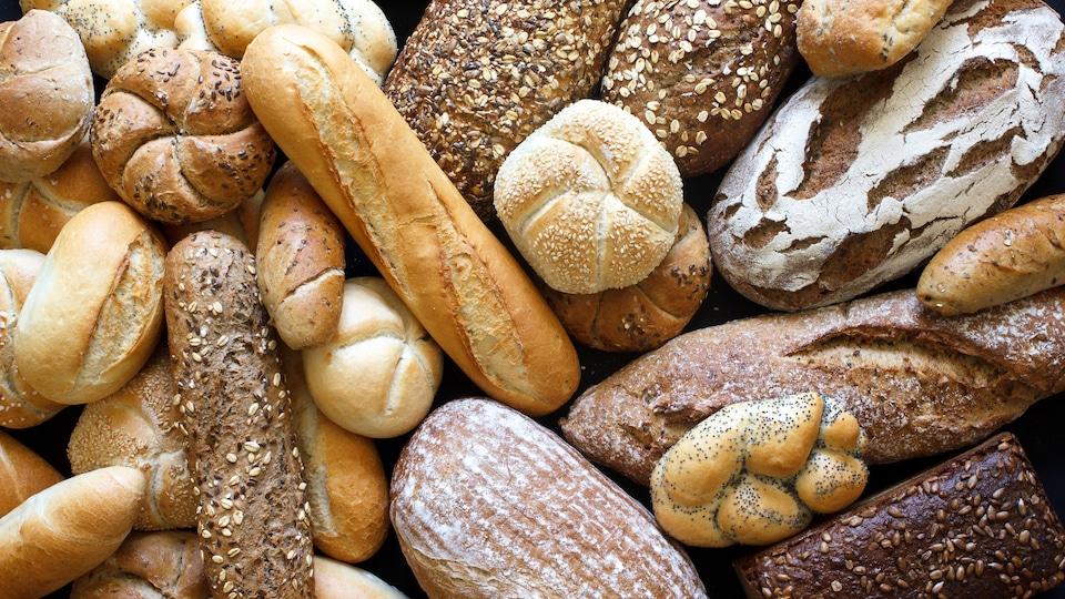Des pains de différentes formes et couleurs réunis.