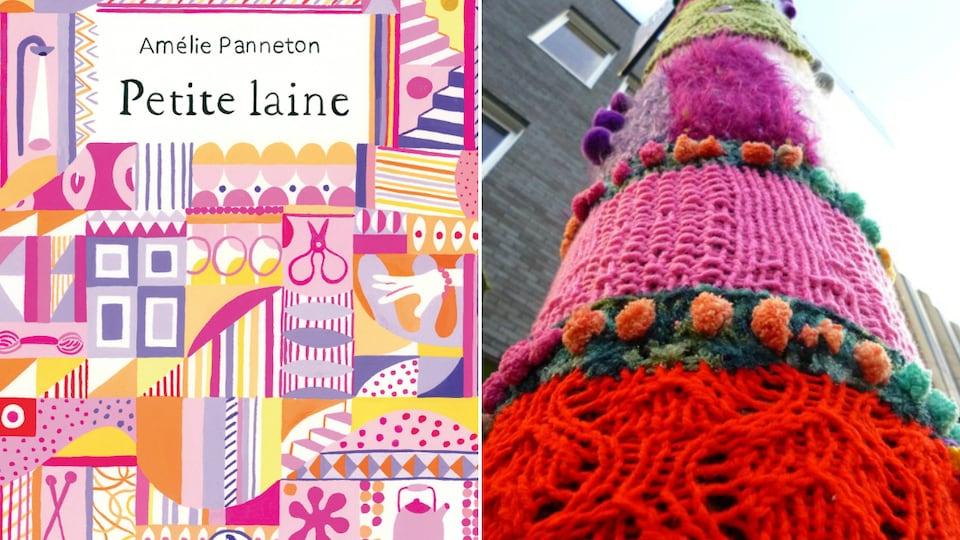 Couverture du roman d'Amélie Panneton et installation de tricot-graffiti du collectif les Ville-Laines