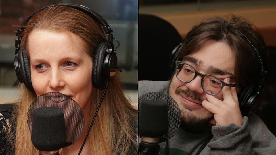 Montage de deux photos de Me Christine Rousseau et Kéven Breton devant un micro de radio.
