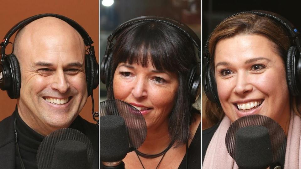 Maxime Vanasse, Mériem Chaieb et Marilou Hainault devant des micros de radio.