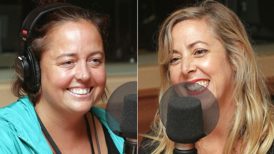 Photos d'Ariane Moffatt et Florence Marcil-Denault devant un micro de radio.