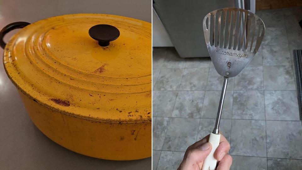 Un gros chaudron en fonte de la marque Le Creuset et une spatule de cuisine hybride entre une cuillère, une spatule et un fouet de la marque Kitchamajig.