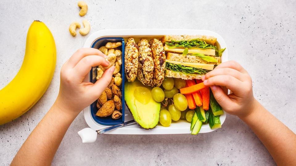 Vue aérienne d'une boîte à lunch compartimentée remplie d'un sandwich, de bâtonnets de carotte et de concombre, d'un demi-avocat, de raisins, de biscuits santé et de noix, avec une banane posée à côté.