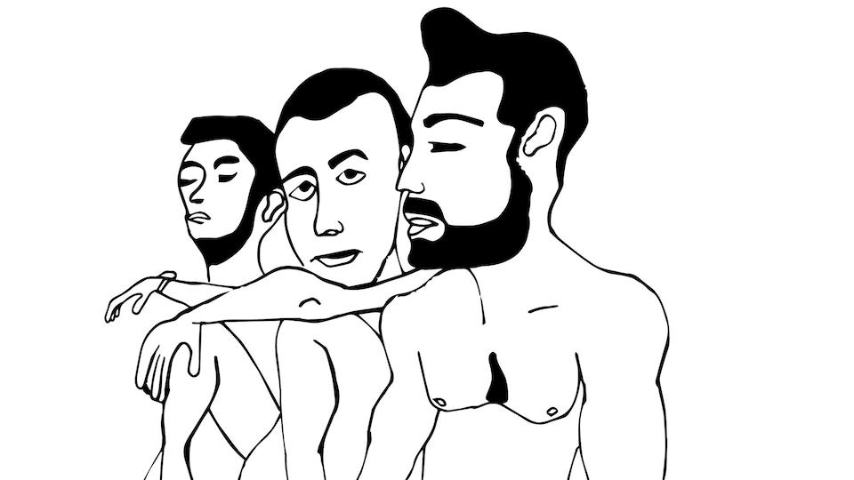 Dessin qui montre trois hommes torse nu.
