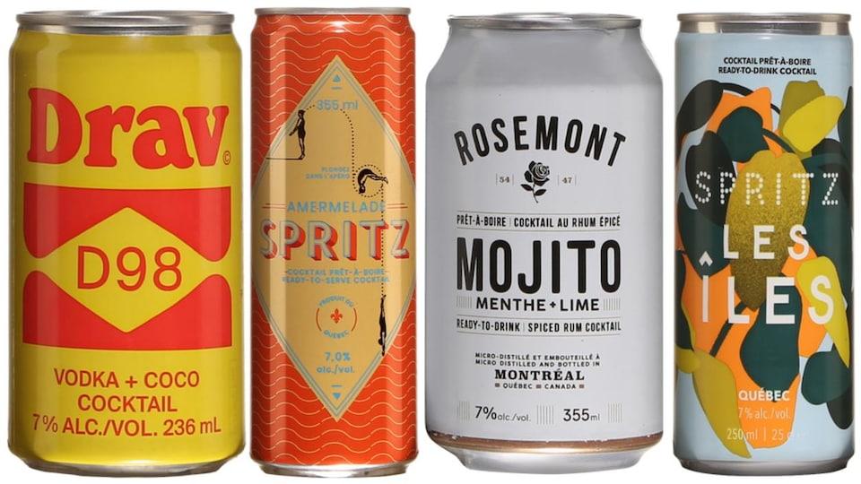 Les boissons en canette Menaud Drav D98, Les Spiritueux Iberville Amermelade Spritz, Spritz Les Îles et Distillerie de Montréal Rosemont Mojito Épicé.