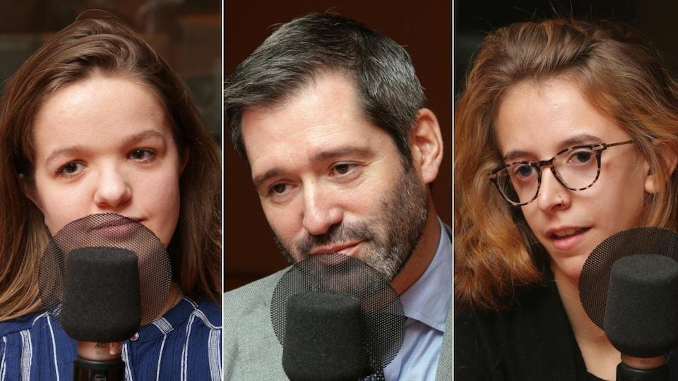 Montage de trois photos de Juliette Pronovost, du Dr Daniel Borsuk et de Rose Jolin devant un micro de radio.