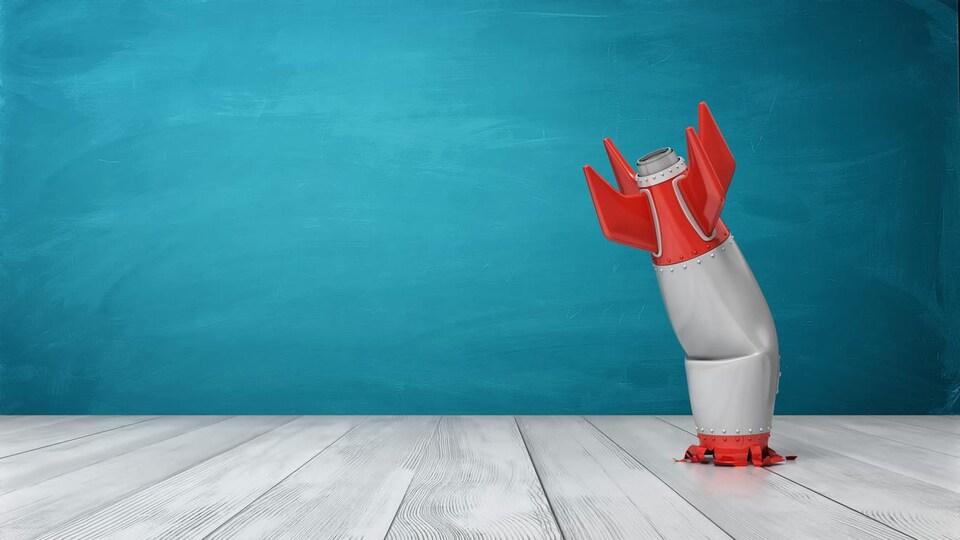 Illustration 3D d'une fusée rétro écrasée au sol.