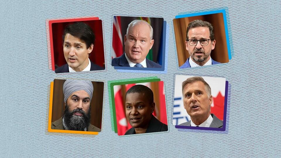 Montage photo de Justin Trudeau, Erin O'Toole, Yves-François Blanchet, Jagmeet Singh, Annamie Paul et Maxime Bernier sur fond bleu.