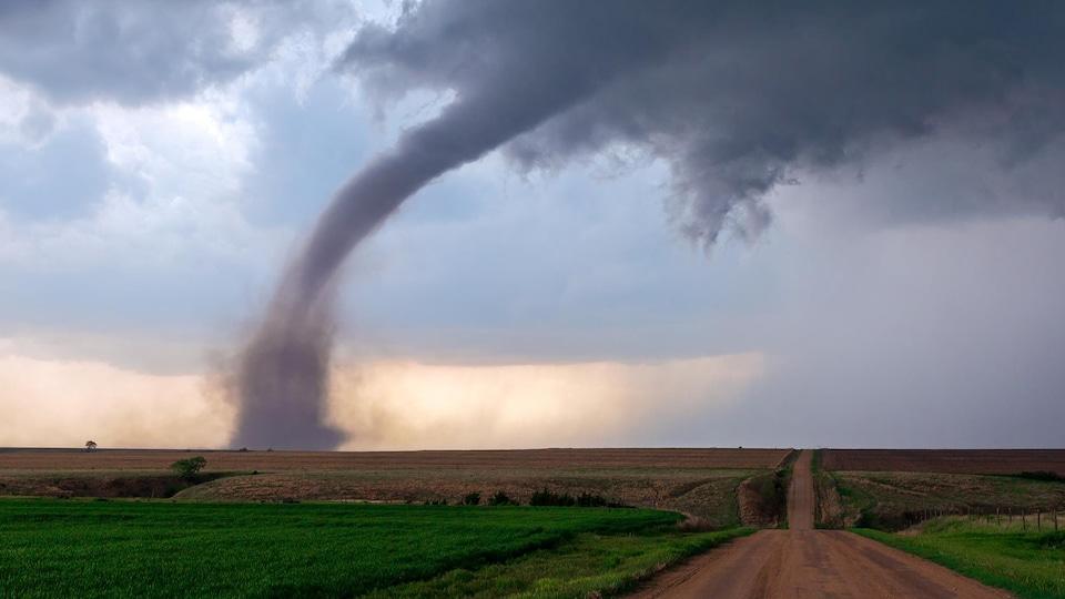 Une tornade prend forme dans un champ.