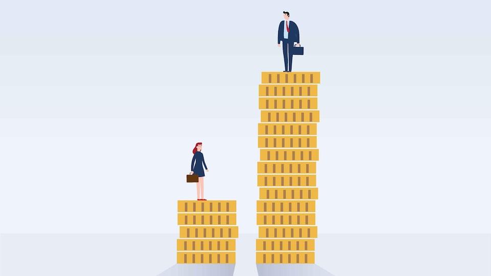 Illustration d'un homme sur une pile de pièces de monnaie troi fois plus haute que la pile de pièces sur laquelle se trouve une femme.