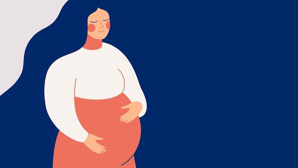 Illustration d'une femme qui attend un enfant qui a les mains posées sur son ventre.