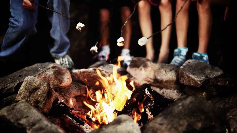 Des enfants font griller des guimauves au-dessus des flammes.