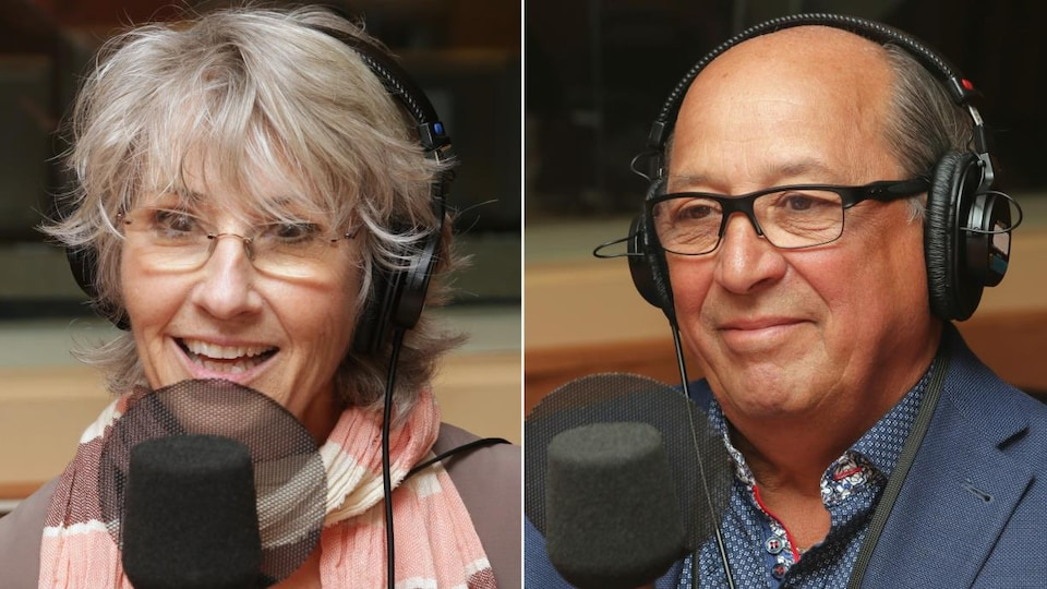 Montage photo de Judi Richards et Pierre Dubois devant des micros de radio.