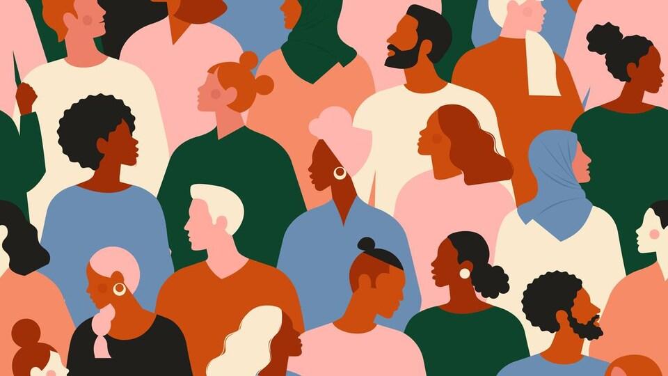 Illustration d'une foule de personnes jeunes, âgées, issues de la diversité, hommes et femmes.