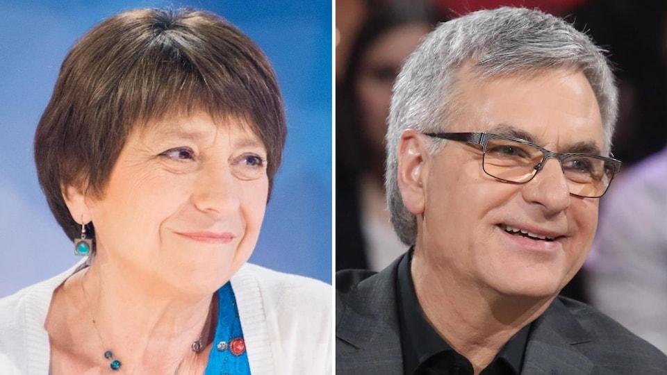 Montage de deux portraits de Françoise David et de Jean-Marc Fournier.