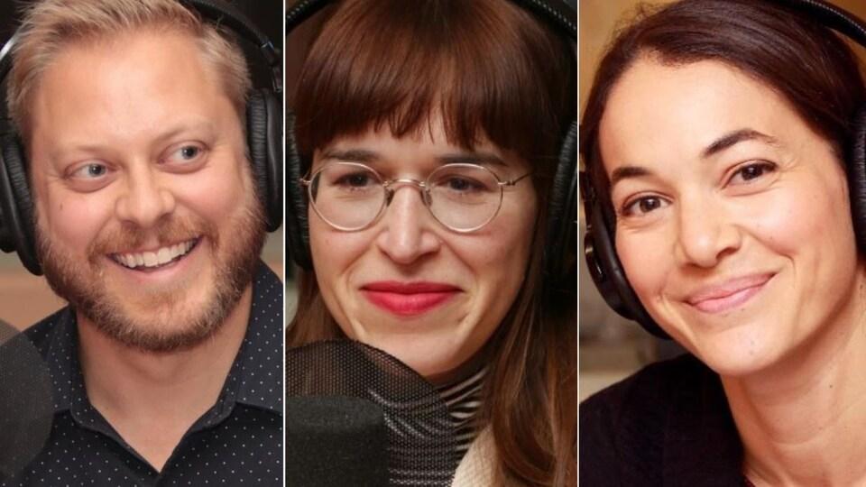 Montage de trois photos de Guillaume Lambert, Catherine Ethier et Karima Brikh devant des micros de radio.