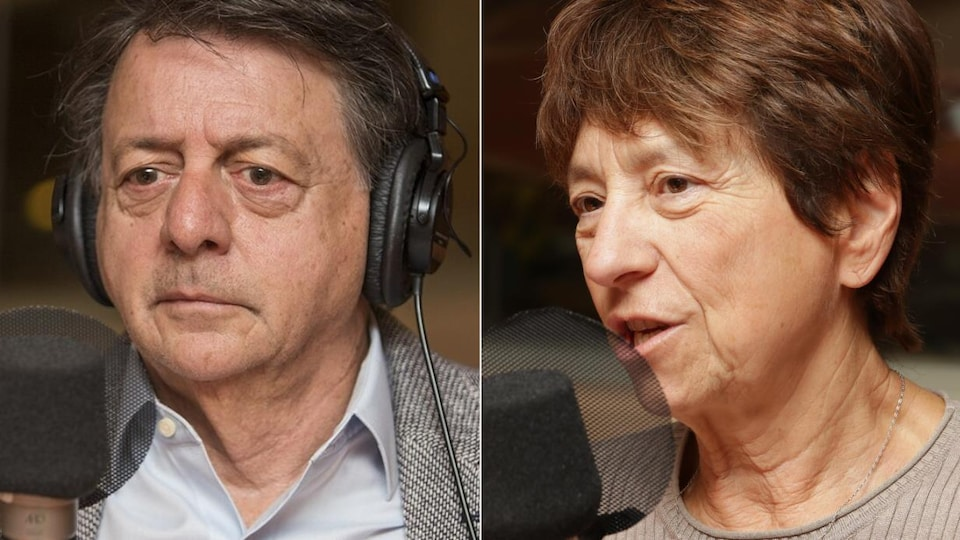 Deux photos de Jean-Luc Mongrain et Françoise David devant un micro de radio.