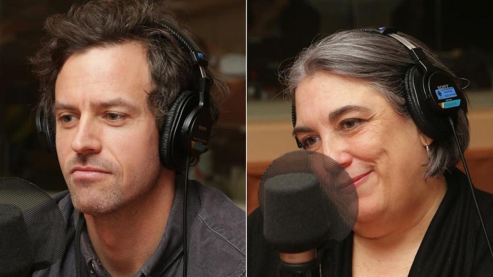 Montage de deux photos de Thomas Rinfret et d'Annick Charlebois devant un micro de radio.