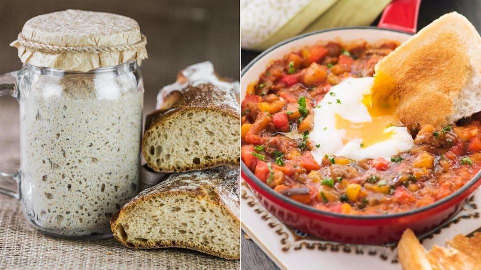 Montage de deux photos de levain dans un pot Masson et d'une ratatouille servie dans une casserole avec un œuf poché et une tranche de pain.