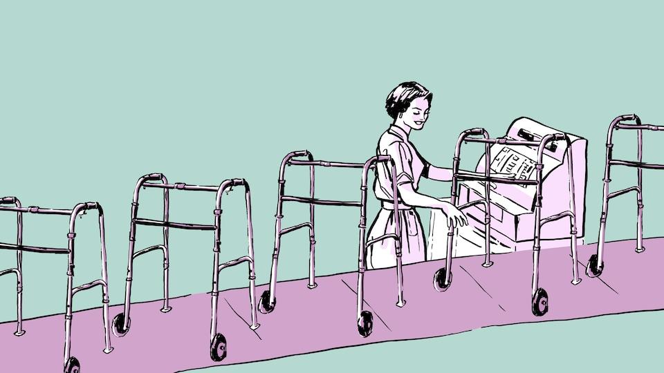 Illustration d'une caissière qui encaissent des marchettes qui défilent sur un tapis roulant.