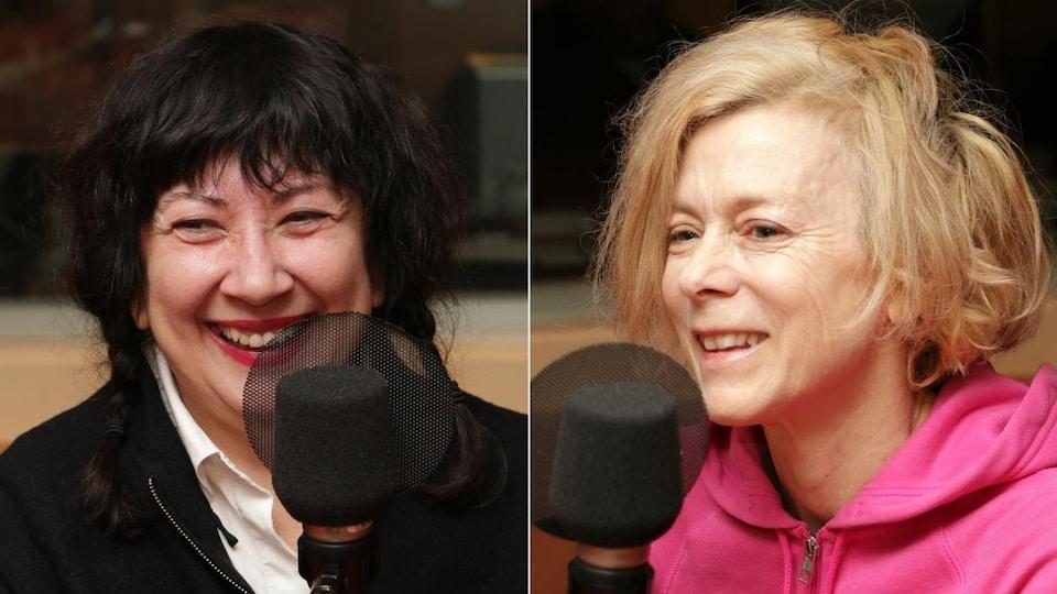 Montage de deux photos de Marie Brassard et Louise Lecavalier devant un micro de radio.