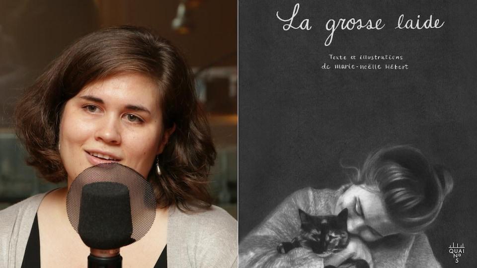 Montage d'une photo de Marie-Noëlle Hébert devant un micro de radio et la couverture de son livre avec un dessin d'elle qui tient un chat dans ses bras.