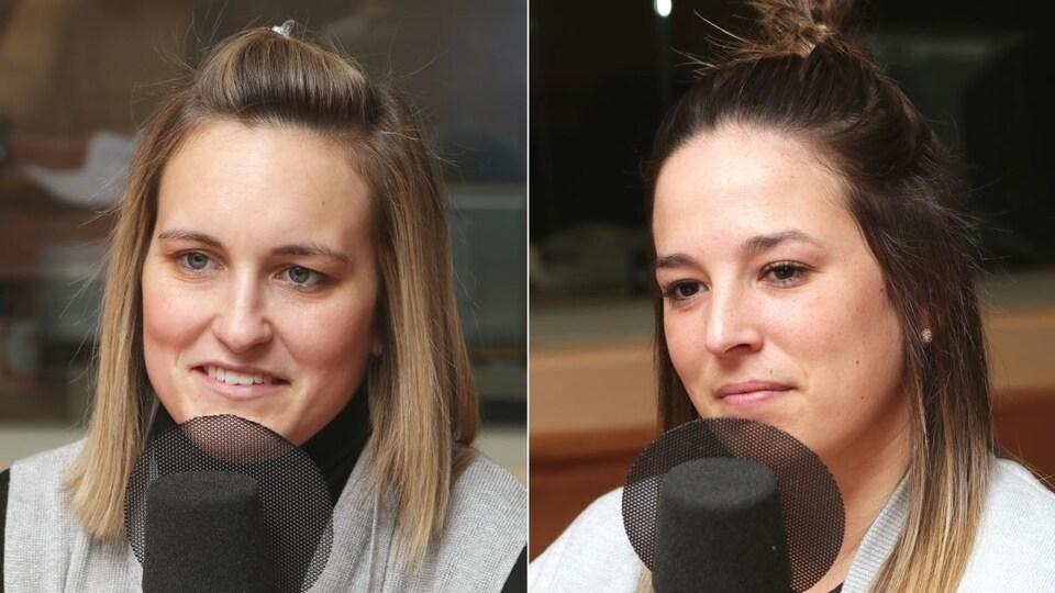Marie-Philip Poulin et Mélodie Daoust devant un micro de radio.