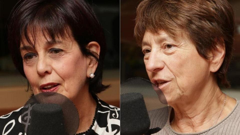 Portrait des deux femmes devant un micro de radio.