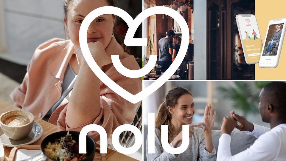 Montage de photos de deux personnes qui parlent en langage des signes et portrait d'une personne trisomique qui prend un café, avec le logo de l'application Nolu.