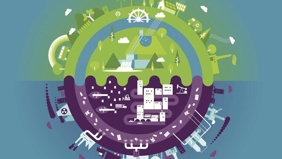 Illustration de la planète terre divisée en deux avec les énergies vertes et renouvelables d'un côté et les énergies fossiles de l'autre.