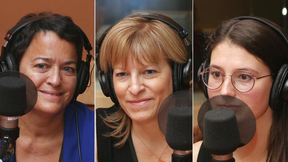 Montage de trois photos de Nadine Lalande, Sophie Therrien et Catherine Gaboriault devant un micro de radio.