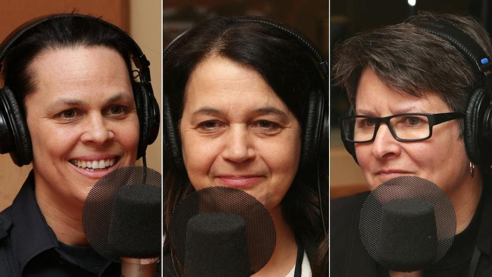Mélanie Drainville, Louise Leroux et Anik St-Pierre devant un micro de radio.