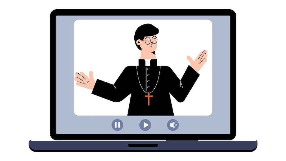 Illustration d'un prêtre affiché sur l'écran d'un ordinateur portable.