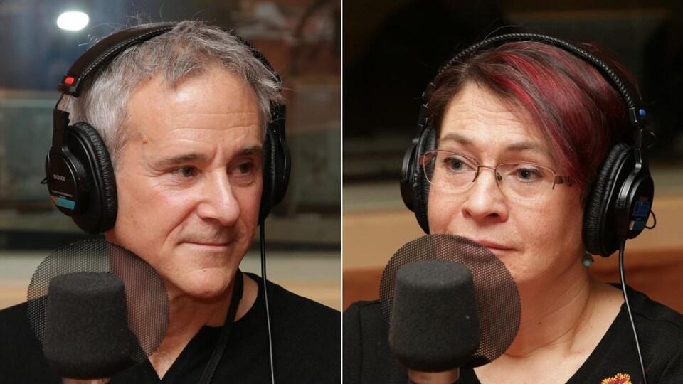 Montage de deux photos de Michel Robert et Marie-Hélène Hachey devant un micro de radio.