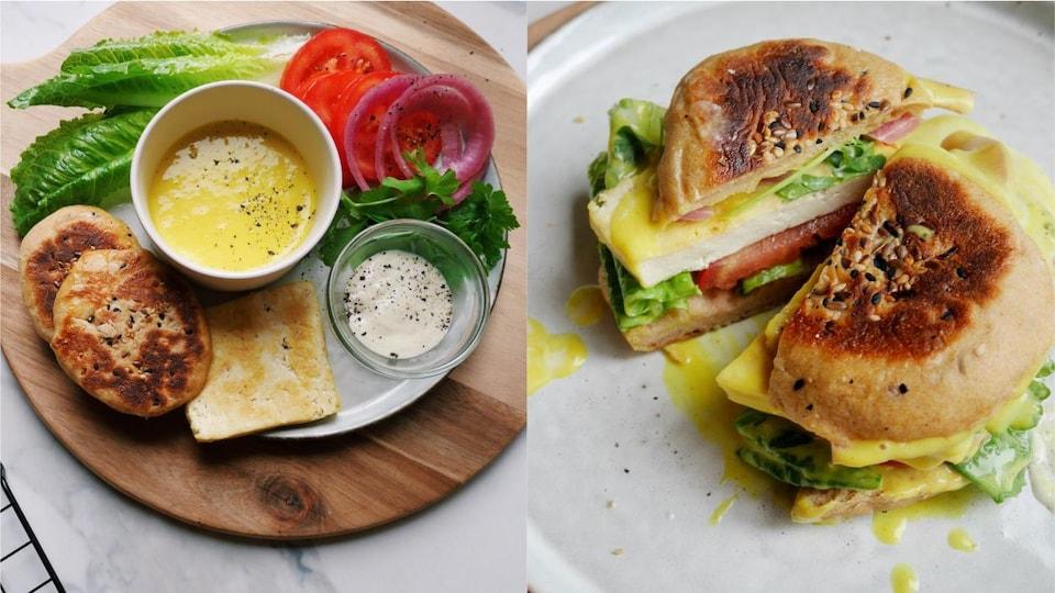 Plusieurs ingrédients (pain, tomate, salade, oignons, sauces, persil) présentés sur une assiette pour composer un sandwich.