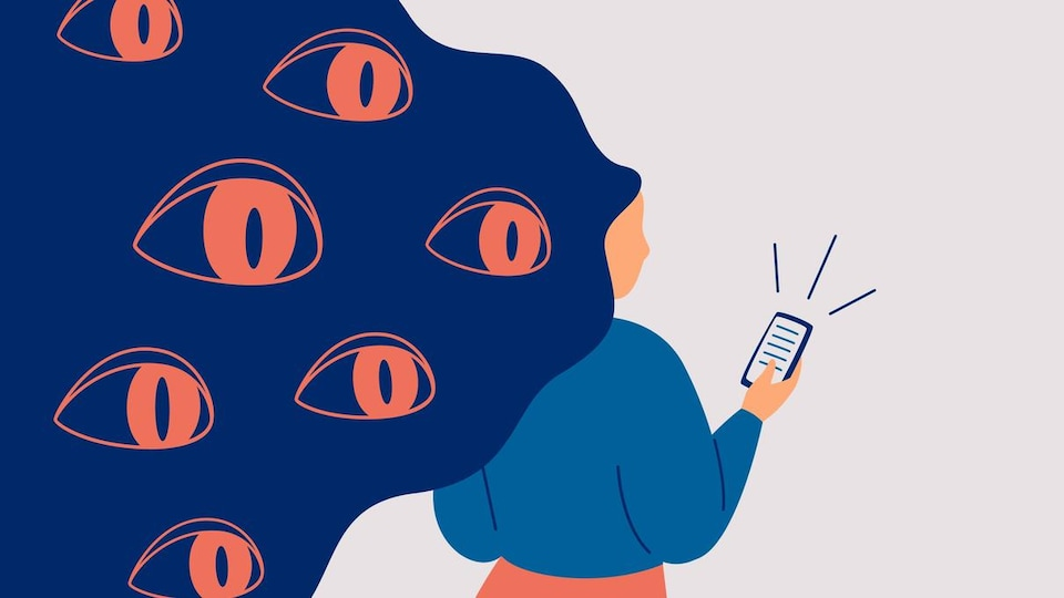 Illustration de plusieurs yeux qui regardent une femme sur son cellulaire.