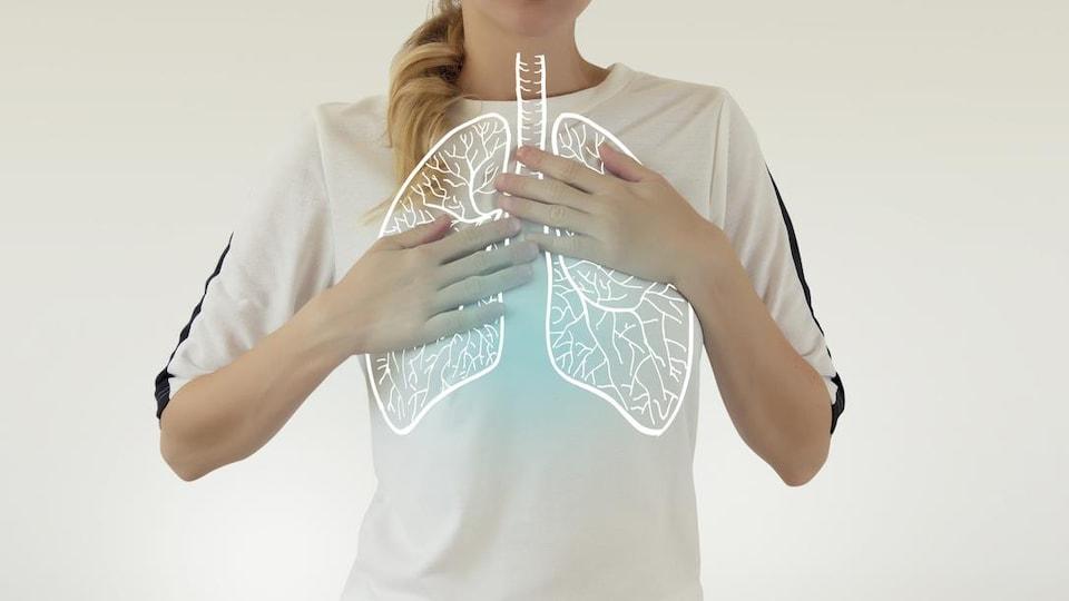 Illustration de deux poumons dessinés sur la photo d'une femme.