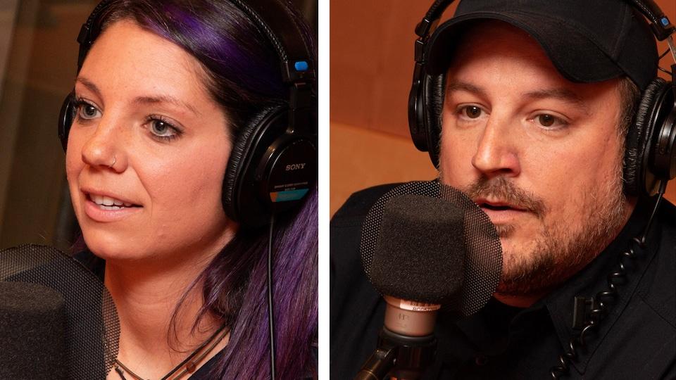 Une femme et un homme parlent devant un micro dans un studio de radio.