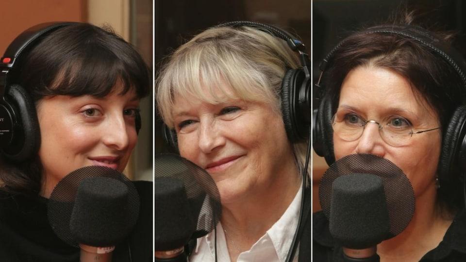 Montage de trois photos de Sarah-Maude Beauchesne, Danielle Ouimet et Pascale Montpetit devant un micro de radio.