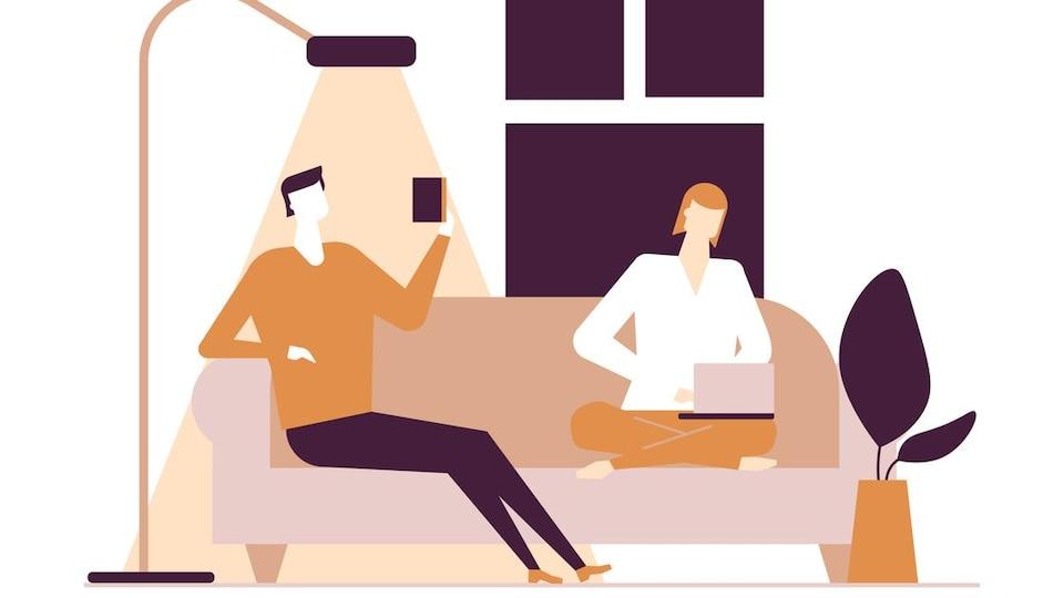 Illustration d'un homme et d'une femme sur un sofa en train de lire et de travailler sur l'ordinateur.