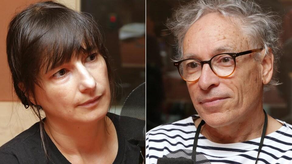 Montage de deux photos d'Élise Gravel et de Jacques Goldstyn devant un micro de radio.